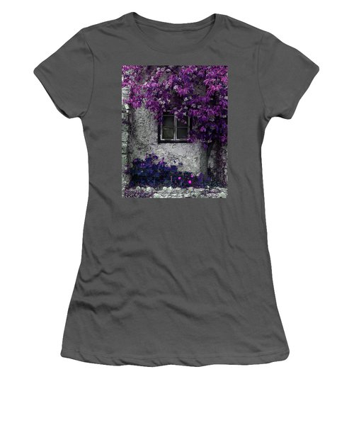 Orchid Vines Window And Gray Stone Women's T-Shirt (Athletic Fit)