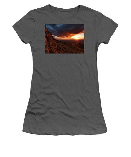 Women's T-Shirt (Junior Cut) featuring the photograph Oregon Mountains Sunrise by Leland D Howard