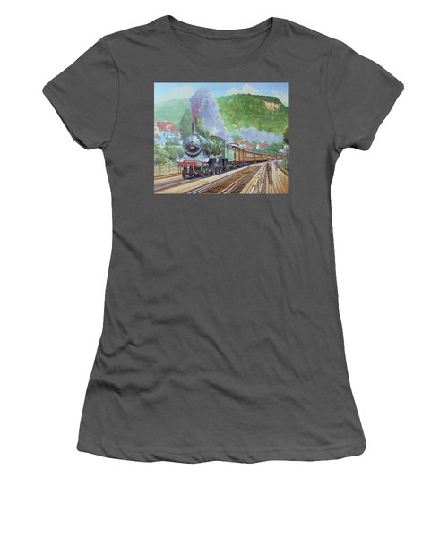 Women's T-Shirt (Junior Cut) featuring the painting Orient Express 1920 by Mike Jeffries