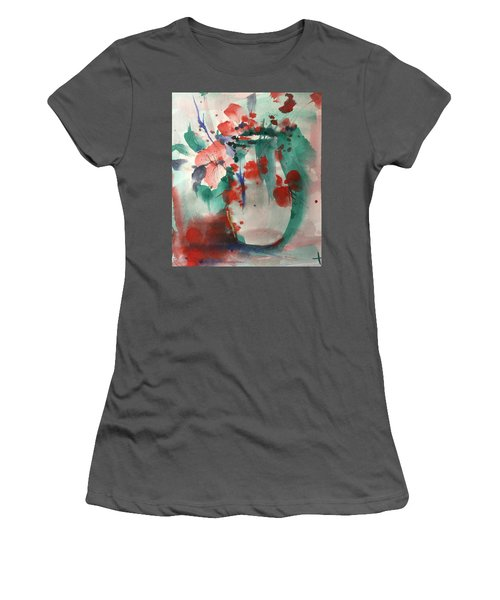Oriental Brush Flowers And Vase Women's T-Shirt (Junior Cut) by Robin Miller-Bookhout