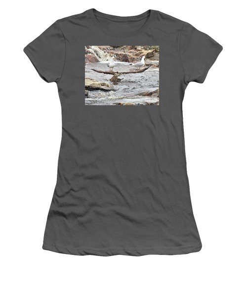 Women's T-Shirt (Athletic Fit) featuring the photograph Osprey Takes Fish From Gulls by Debbie Stahre