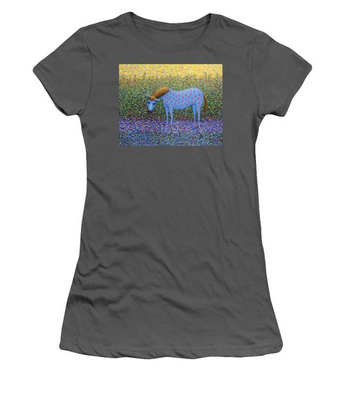 Women's T-Shirt (Junior Cut) featuring the painting Out Of The Pasture by James W Johnson