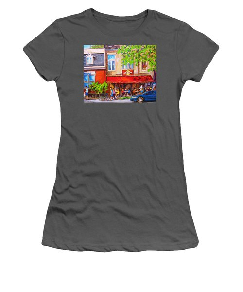 Women's T-Shirt (Junior Cut) featuring the painting Outdoor Cafe by Carole Spandau