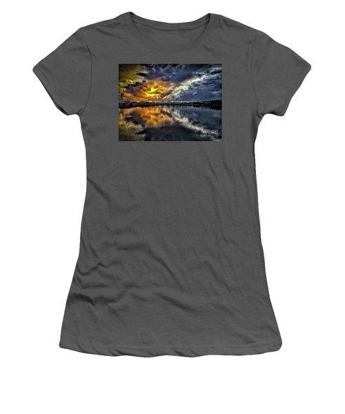Oyster Lake Sunset Women's T-Shirt (Junior Cut) by Walt Foegelle