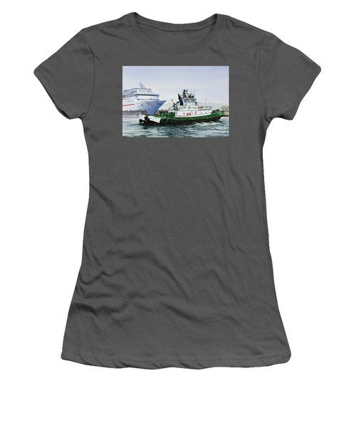 Women's T-Shirt (Junior Cut) featuring the painting Pacific Escort Cruise Ship Assist by James Williamson
