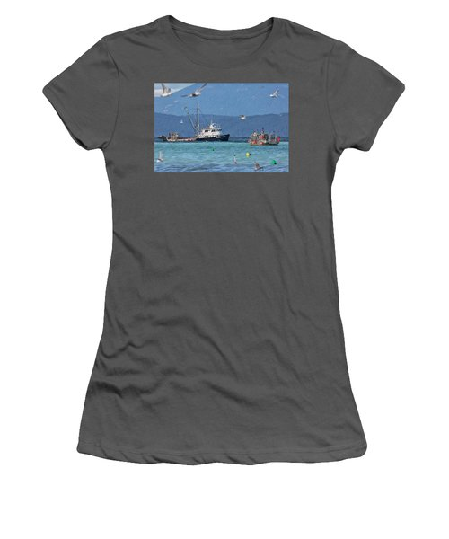 Pacific Ocean Herring Women's T-Shirt (Junior Cut) by Randy Hall