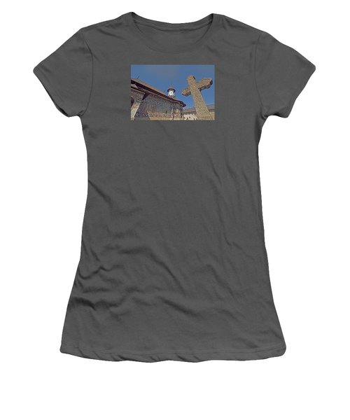 Women's T-Shirt (Junior Cut) featuring the photograph Painted Bucovina Monastery by Dennis Cox WorldViews