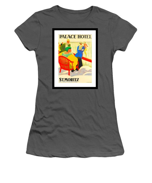 Palace Hotel St Moritz Emil Cardinaux 1920 Women's T-Shirt (Athletic Fit)