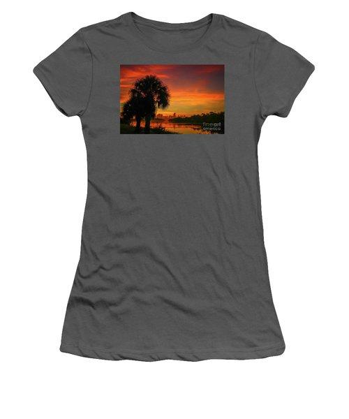 Palm Silhouette Sunrise Women's T-Shirt (Athletic Fit)
