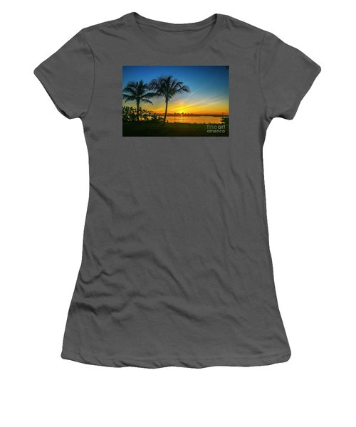 Palm Tree And Boat Sunrise Women's T-Shirt (Athletic Fit)