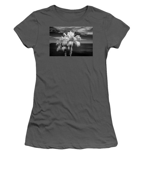 Women's T-Shirt (Junior Cut) featuring the photograph Palm Trees At Laguna Beach In Infrared Black And White by Randall Nyhof
