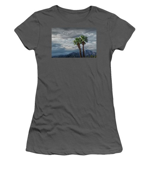 Women's T-Shirt (Junior Cut) featuring the photograph Palm Trees By Borrego Springs In The Anza-borrego Desert State Park by Randall Nyhof