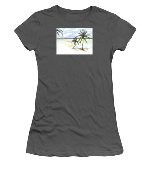 Palm Trees On The Beach Women's T-Shirt (Junior Cut) by Darren Cannell