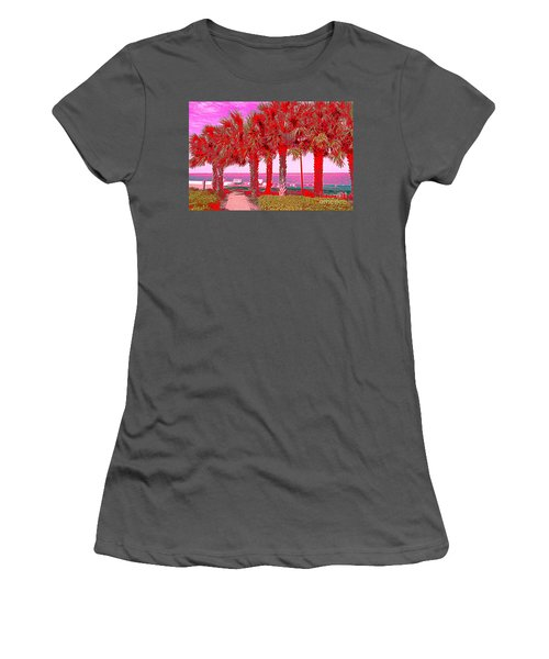 Palms In Red Women's T-Shirt (Athletic Fit)