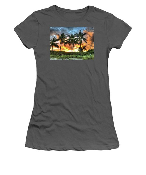 Palms On Fire Women's T-Shirt (Junior Cut) by Steven Lebron Langston