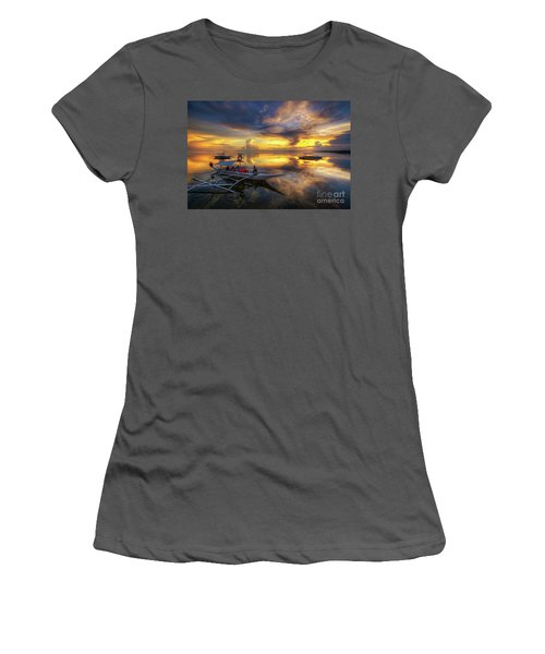 Women's T-Shirt (Junior Cut) featuring the photograph Panglao Port Sunset 10.0 by Yhun Suarez