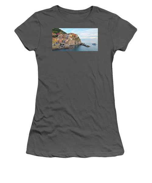 Women's T-Shirt (Junior Cut) featuring the photograph Panoramic Manarola Seascape by Frozen in Time Fine Art Photography