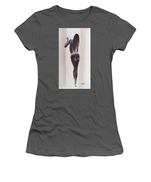Women's T-Shirt (Junior Cut) featuring the painting Panties Down by Jarko Aka Lui Grande