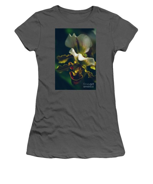 Women's T-Shirt (Junior Cut) featuring the photograph Paphiopedilum Villosum Orchid Lady Slipper by Sharon Mau