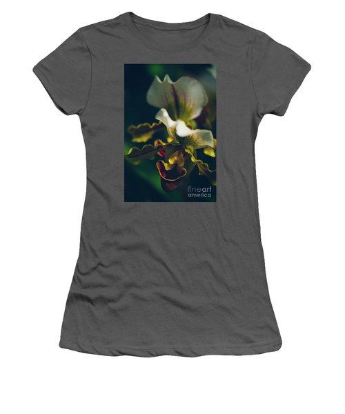 Women's T-Shirt (Junior Cut) featuring the photograph Paphiopedilum Villosum Orchid Lady Slipper by Sharon Mau