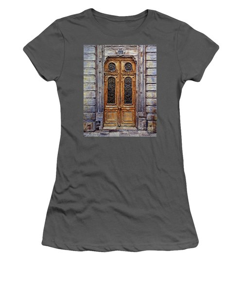 Women's T-Shirt (Junior Cut) featuring the painting Parisian Door No. 15 by Joey Agbayani