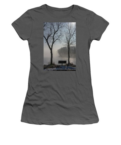 Park Bench In Morning Fog Women's T-Shirt (Athletic Fit)