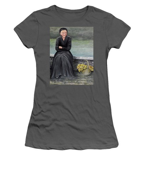 Women's T-Shirt (Junior Cut) featuring the painting Pasqualina Di Scanno by Judy Kirouac