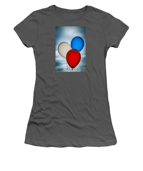 Women's T-Shirt (Junior Cut) featuring the photograph Patriotic Balloons by Carolyn Marshall