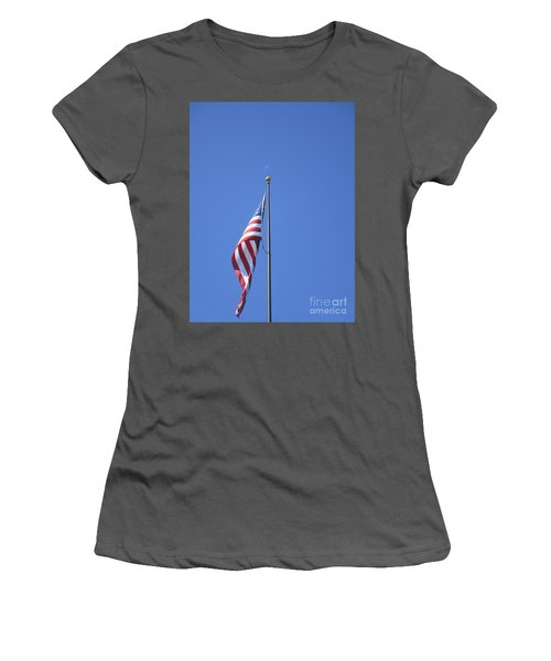 Women's T-Shirt (Athletic Fit) featuring the photograph Patriotic Moon At Skinner Butte by Marie Neder