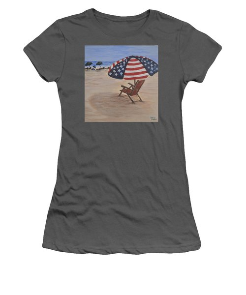 Women's T-Shirt (Junior Cut) featuring the painting Patriotic Umbrella by Debbie Baker