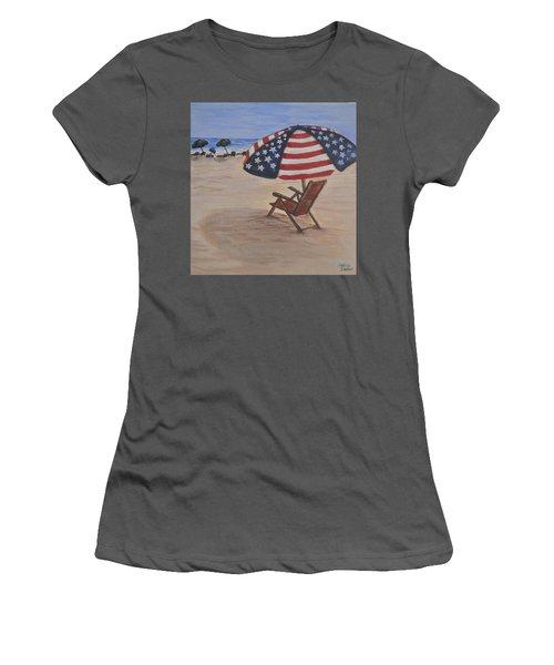 Patriotic Umbrella Women's T-Shirt (Junior Cut) by Debbie Baker