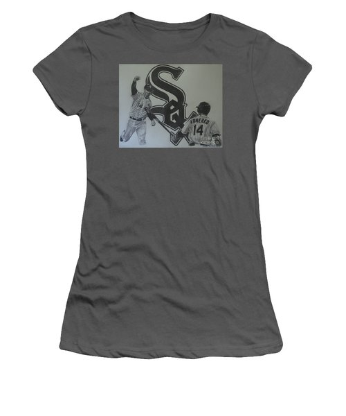 Paul Konerko Collage Women's T-Shirt (Junior Cut) by Melissa Goodrich