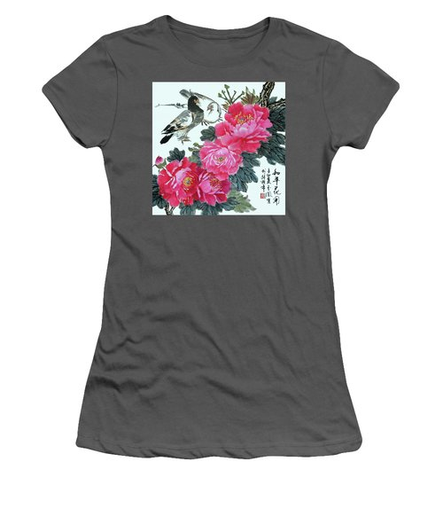 Peace Flowers Women's T-Shirt (Junior Cut) by Yufeng Wang