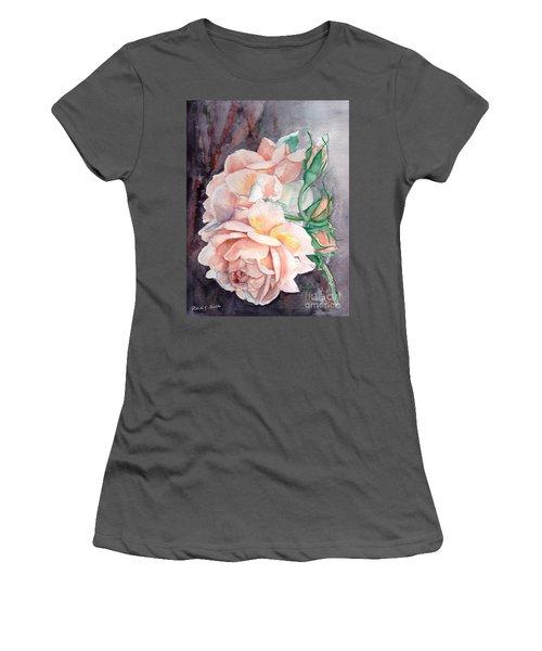 Peach Perfect - Painting Women's T-Shirt (Junior Cut) by Veronica Rickard