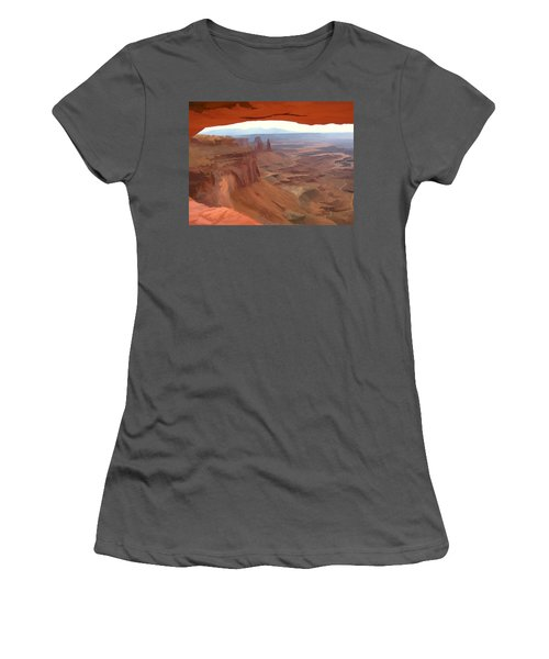 Peering Out 2 Watercolor Women's T-Shirt (Athletic Fit)