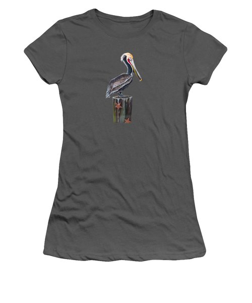 Pelican Standing On A Piling Women's T-Shirt (Junior Cut) by Jennifer Rogers