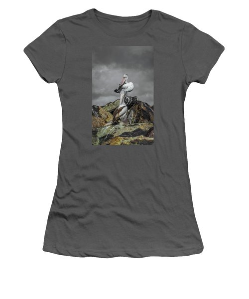 Pelicans On Rocks Women's T-Shirt (Junior Cut) by Racheal Christian