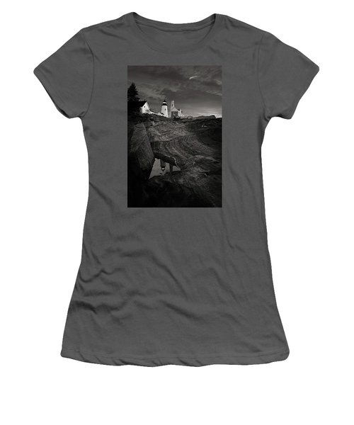 Pemaquid Lighthouse At Dawn Black And White Women's T-Shirt (Athletic Fit)