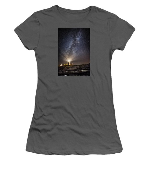 Women's T-Shirt (Junior Cut) featuring the photograph Pemaquid Point Milky Way by Robert Clifford