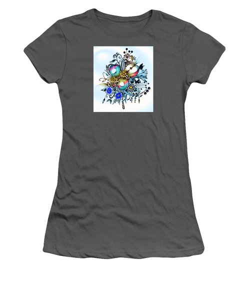 Pen And Ink Drawing, Colorful Apples, Watercolor And Digital Painting Women's T-Shirt (Athletic Fit)