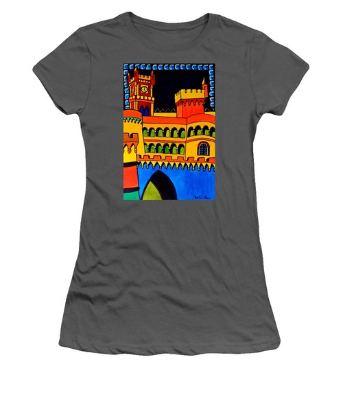 Women's T-Shirt (Junior Cut) featuring the painting Pena Palace Portugal by Dora Hathazi Mendes