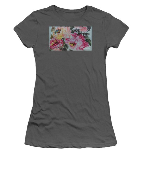 Women's T-Shirt (Junior Cut) featuring the painting Peoney20161229_10 by Dongling Sun