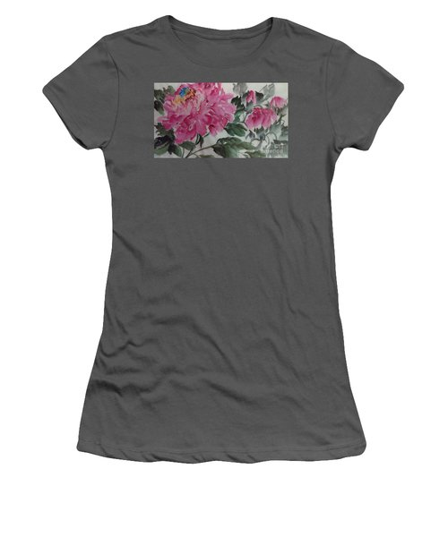 Women's T-Shirt (Junior Cut) featuring the painting Peoney20161230_623 by Dongling Sun