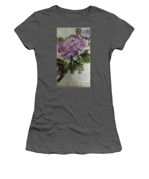 Women's T-Shirt (Junior Cut) featuring the painting Peony20170126_1 by Dongling Sun