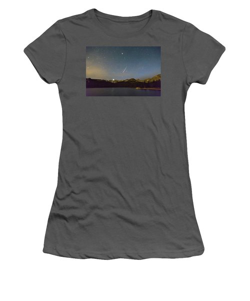 Women's T-Shirt (Athletic Fit) featuring the photograph Perseid Meteor Shower Indian Peaks by James BO Insogna
