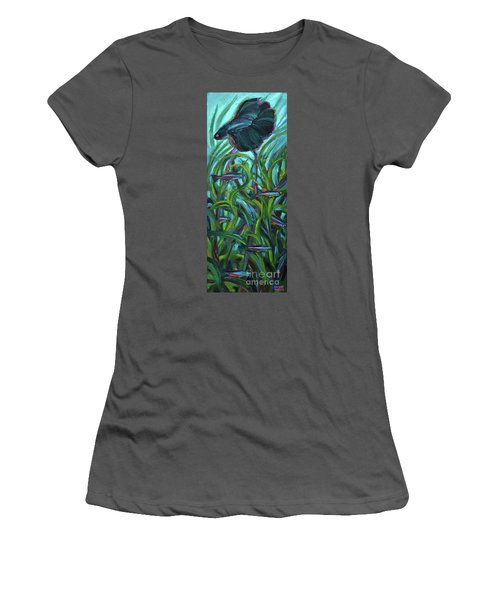 Women's T-Shirt (Junior Cut) featuring the painting Persistent Fish Betta  by Robert Phelps