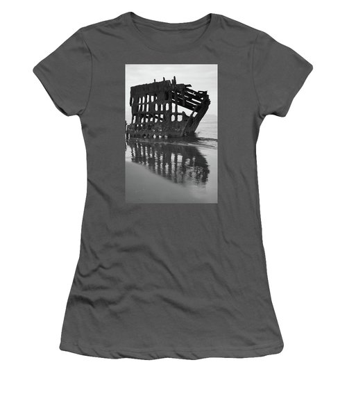 Peter Iredale Shipwreck In Black And White Women's T-Shirt (Athletic Fit)