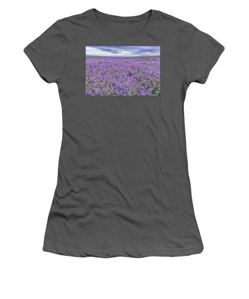 Women's T-Shirt (Junior Cut) featuring the photograph Phacelia Field And Clouds by Marc Crumpler