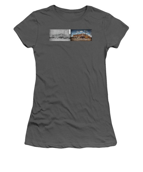Women's T-Shirt (Athletic Fit) featuring the photograph Pharmacy - The Corner Drugstore 1910 - Side By Side by Mike Savad