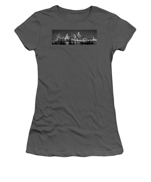 Philadelphia Philly Skyline At Night From East Black And White Bw Women's T-Shirt (Athletic Fit)
